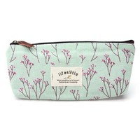Leegoal(TM) Elegant Canvas Pastorable Floral Pen Pencil Pouch with Zipper Closure,Light Blue and Pink