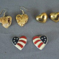 Lot of 3 Heart Shaped Earrings, Pierced and Clip, Wire, Goldtone, Flagm 1980s Vintage earrings Lot