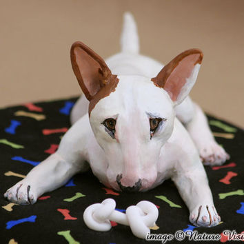 Bull Terrier Art Sculpture Polymer Clay Dog Figurine Pet Portrait Home Decor
