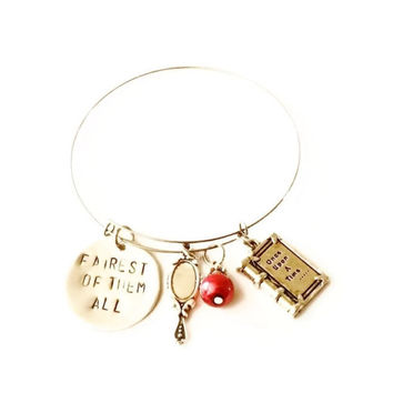 Once Upon a Time Evil Queen Charm Bracelet, Fairy Tale Charm Bracelet, Adjustable Bangle, Once Upon A Time Charm Bangle, OUAT Bracelet