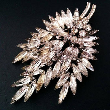"Juliana Brooch Delizza Elster Ice Navette Rhinestones Silver Metal 4"" Vintage Statement"