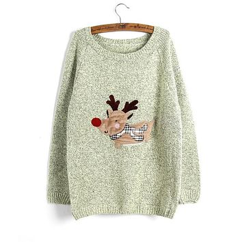 2016 New Winter Women's Ugly Christmas Sweater Green Gray Rose Pink O-neck Long Sleeve Pullovers Women Deer Pattern Sweaters