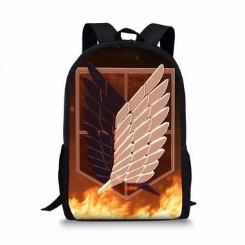Cool Attack on Titan Anime  Backpack Boys Schoolbags Children Backpack For Teenagers Kids Gift Polyester Backpack Book Bags AT_90_11