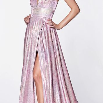 Long A-Line Slit Prom Gown Metallic Lilac Hologram Fabric