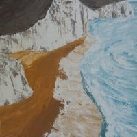 View: Steep coastal white cliffs of Dover 60x120x4 cm palette knife painting Large painting S044 OOAK decor original art ready to hang acrylic on stretched canvas wall art by artist Ksavera | Artfinder