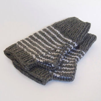 one of a kind wool free wristwarmers-- the condyle in grey heather and white stripes