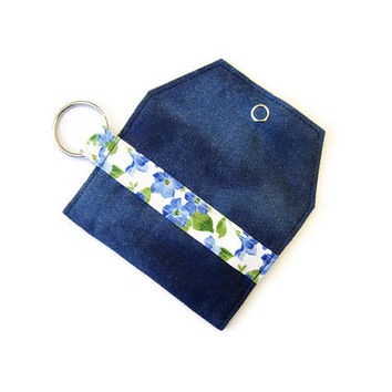 Mini key chain wallet/ simple ID Key chain pouch / keychain coin purse / Business card holder / Night sky and floral special edition