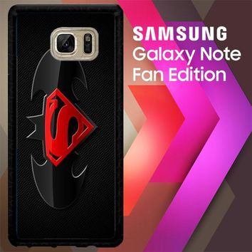 Batman And Superman Logo F0154 Samsung Galaxy Note FE Fan Edition Case