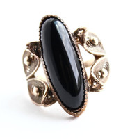 Vintage 12k Gold Filled Onyx Black Stone Ring - Size 6 1/2 Signed Sorrento Statement Jewelry - Filigree Leaf