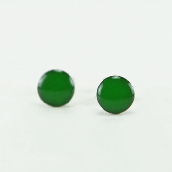 MYSTIC GREEN Stud Earrings - Green Earrings - Green Ear Studs - Green Earrings Stud - Green Studs - Surgical Steel Earrings 4mm / 6mm / 8mm