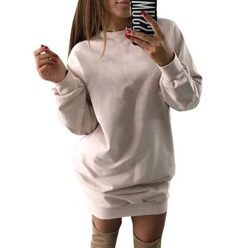 Autumn Casual Hoodies Dress For Women Loose Jumper Sweatshirt Female Pullover
