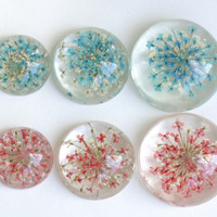 10 pcs Resin Cabochon Round Dome Blue Red Flower Pendants Size 20mm 25mm 30mm