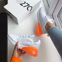Nike Air Max 270 Stylish Women Men Casual Air Cushion Sport Running Shoe Sneakers White Orange I