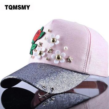 VONG2W TQMSMY Women's Baseball Cap Hat Star Rose Flower Bling Brim Ring Women Snapback Cap Gorras Adjustable Woman Floral Caps TMBS32