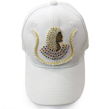 Daughters of Isis Jewel Embroidered White Cap