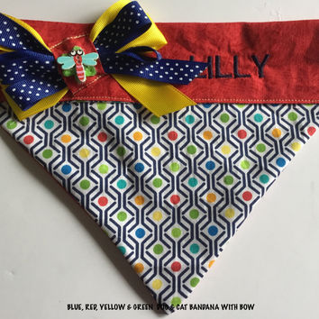 Red Polka Dot Dog & Cat Bandana with Embroidered Name