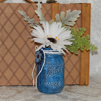 Rustic Mason Ball Jar Blue Distressed Vase Wedding Table Centerpieces Blue Denim White Jute Garden Country Barn Americana Party Décor