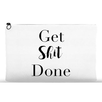 Get Shit Done Makeup Pouch - Black & White
