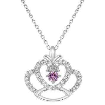 Rhodium Plated Princess Crown Pendant Pink Clear Crystal Girls Kids Necklace 16""