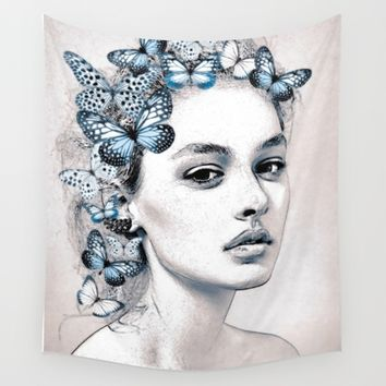 Woman with butterflies 2 Wall Tapestry by Dada22