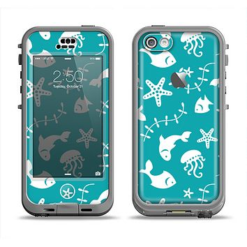 The Blue and White Cartoon Sea Creatures Apple iPhone 5c LifeProof Nuud Case Skin Set