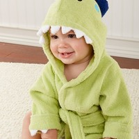 Infant Boy's Baby Aspen 'Splash-A-Saurus' Dinosaur Terry Robe, Size 0-9 M - Green