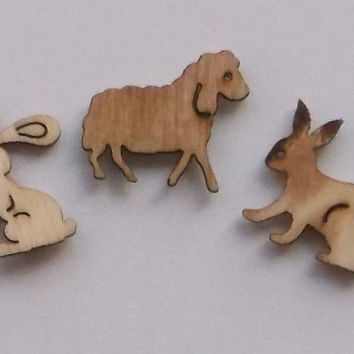 Spring Theme, Set composed by 2 Wooden Rabbits and 1 Wooden Sheep, Lasercut, Embellishments for Craft Projects