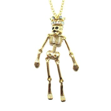 Unique Moveable Human Skeleton Bones Shaped Pendant Necklace With Crown in Gold