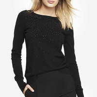 RHINESTONE EMBELLISHED CREW NECK SWEATER from EXPRESS