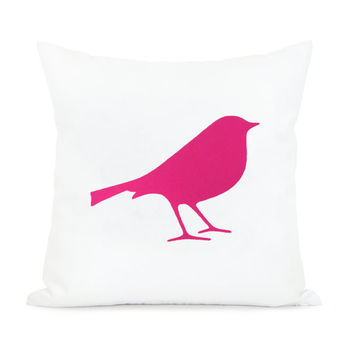 16x16 bird pillow cover | Decorative throw pillow case in hot pink and white | Romantic cushion cover for Shabby Chic home decor