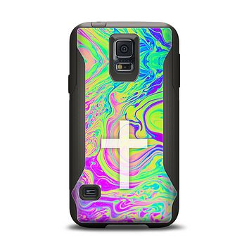 The Vector White Cross v2 over Neon Color Fushion Samsung Galaxy S5 Otterbox Commuter Case Skin Set