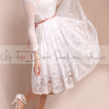 Off-Shoulder/reception/ Short wedding romantic lace dresses /Custom Made/ ,3/4 Sleeves Bridal Gown