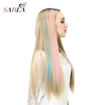 NOVO5 SARLA 20' Long Straight Clip In Hair Extensions Synthetic Heat Resistant Highlight Hair Ombre Hair Hairpieces Colorful Extension