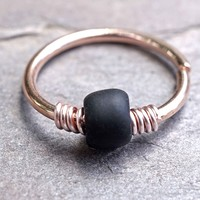 16g 18g or 20 Gauge Rose Gold Beaded Black Nose Hoop Ring or Helix Tragus Cartilage Hoop Earring
