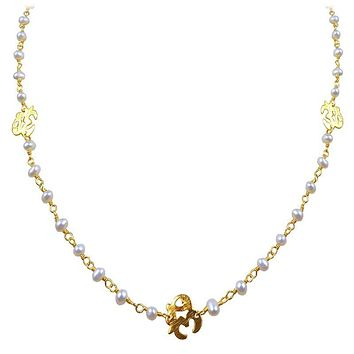 "CHG-197-PE-OM-18"" 18K Gold Overlay Necklace With Pearl"
