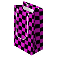 Hot Pink and Black Checkerboard Pattern Small Gift Bag
