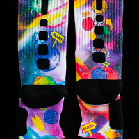 Space Jam Galaxies Custom Nike Elite Socks