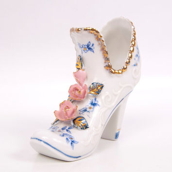 Vintage Applied Pink Roses White Porcelain Shoe Cobalt Blue Floral Gold Trim Brinns Hand Painted x
