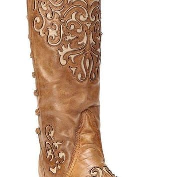 DCCKAB3 Corral Bone-Brown Inlay Back Strap Boots A3043