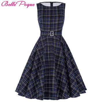 Belle Poque Women Summer Dress 2017 Rockabilly Audrey Hepburn Tunic robe Casual Clothing Vestidos 50s Vintage Plaid Dresses