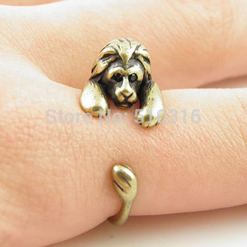 Fashion Animal Ring Cute Lion Wrap Adjustable Ring