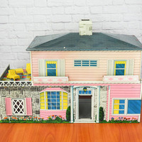Vintage Tin Litho Dollhouse by T. Cohn Superior Toys Colonial 2-Story Pink with Furniture
