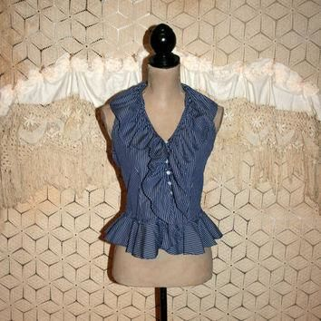 Boho Summer Top Small Women Ruffle Blouse Sleeveless Peplum Blue Pinstripe Button Up S