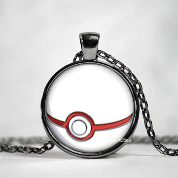 Primer Pokeball Pendant, pokemon go, pokemon jewelry, pokemon necklace, japanese anime, fan art,pokeball necklace