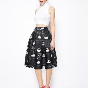 3D print high waist vintage black Skull tutu skirt women fashion pleated midi skirts