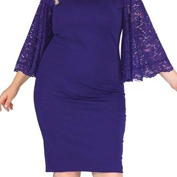 Navy Lace Flutter Sleeve Plus Size Bodycon Formal Dress