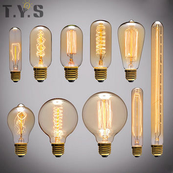 Antique Retro Edison Bulb Lamp E27 220V ST64 G80 G95 G125 40W Vintage Incandescent Pendant Light Filament Bulbs christmas Light