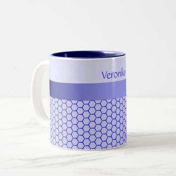 Blue pattern. Grid and silk band. Add your text. Two-Tone Coffee Mug