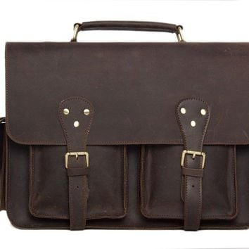 BLUESEBE MEN HANDMADE VINTAGE LEATHER SATCHEL/MESSENGER BAG 7145