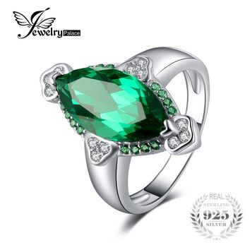 JewelryPalace Brand 3.9ct Marquise Created Emerald Rings For Women Genuine 925 Sterling Silver 2017 Fashion Vintage Fine Jewelry